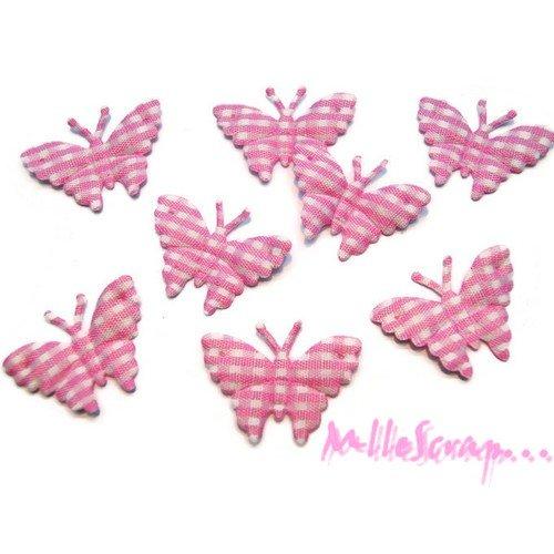 *lot de 8 papillons rose clair vichy embellissement scrapbooking(réf.310).*