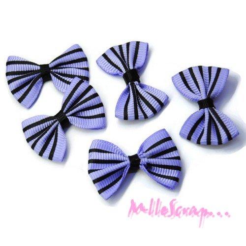 *lot de 5 noeuds rayés tissu violet, noir embellissement scrapbooking *
