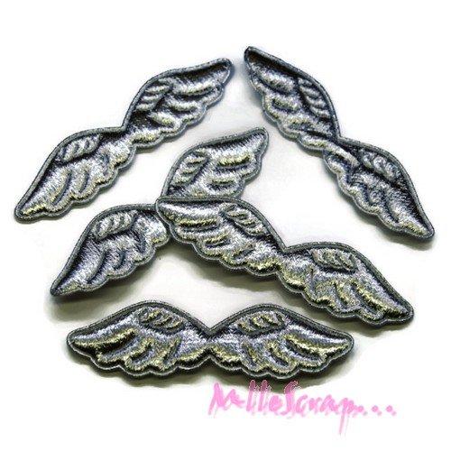 *lot de 5 ailes tissu argenté  embellissement scrapbooking carte (réf.310).*
