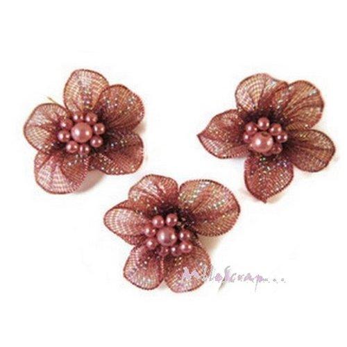 *lot de 5 fleurs violet tissu brillant embellissement scrapbooking *