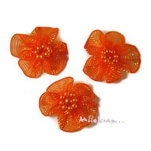 *lot de 5 fleurs orange tissu brillant embellissement scrapbooking carte* .