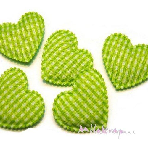 *lot de 5 coeurs tissu vichy vert embellissement scrapbooking(réf.310)*