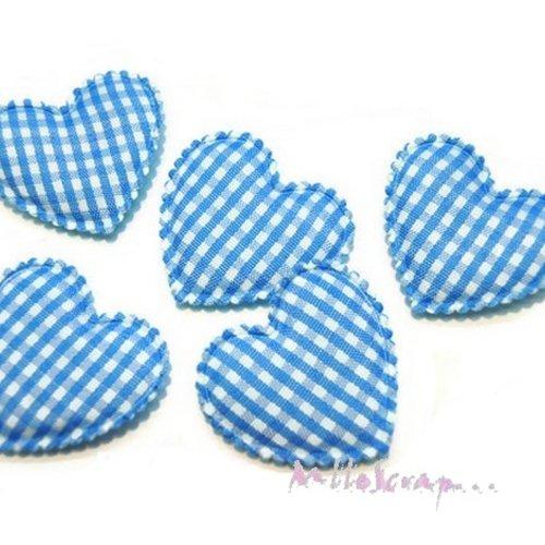 *lot de 5 coeurs tissu vichy bleu embellissement scrapbooking(réf.310)*