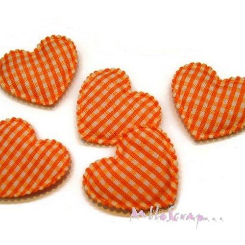 *lot de 5 coeurs tissu vichy orange embellissement scrapbooking(réf.310)*