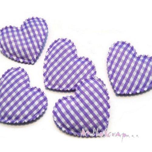 *lot de 5 coeurs tissu vichy violet embellissement scrapbooking(réf.310)*
