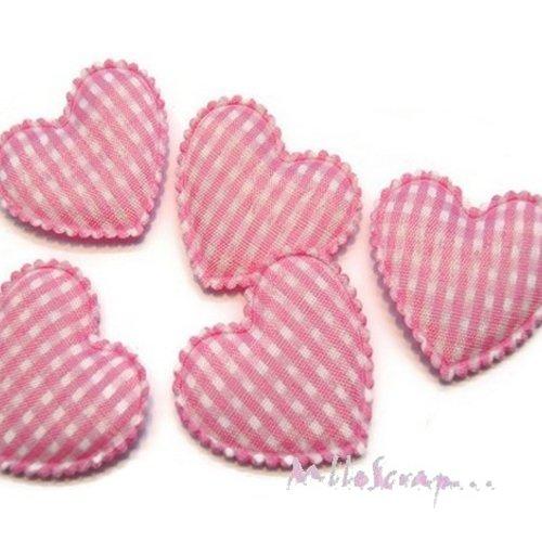 *lot de 5 coeurs tissu vichy rose clair embellissement scrapbooking(réf.310)*