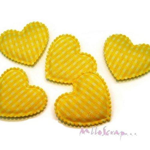 *lot de 5 coeurs tissu vichy jaune embellissement scrapbooking(réf.310)*