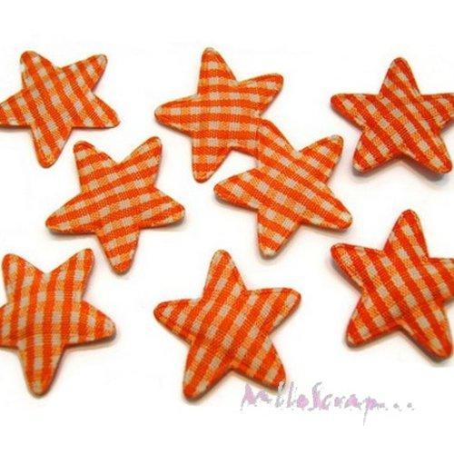 *lot de 10 petites étoiles tissu vichy orange embellissement scrapbooking(réf.310).*