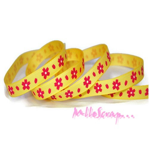 1 m de ruban imprimé fleurs jaune, rose embellissement scrapbooking