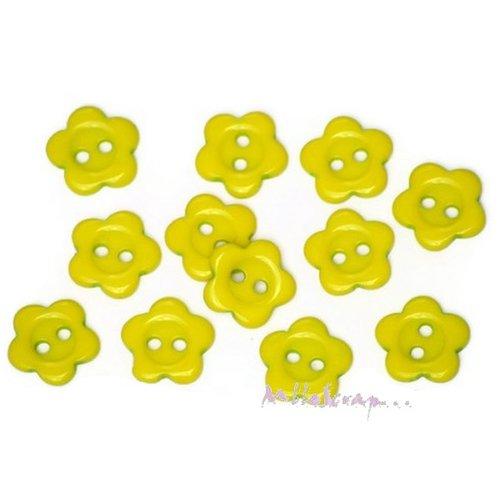 *lot de 10 boutons fleurs vert embellissement scrapbooking carterie*