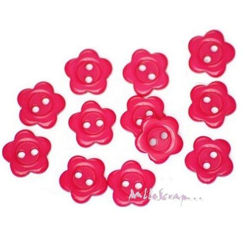 *lot de 10 boutons fleurs rose foncé embellissement scrapbooking carte*.