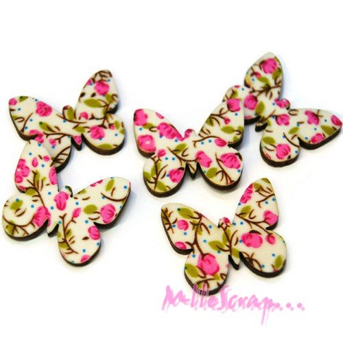 *lot de 5 papillons bois à décorer scrapbooking carterie 2*