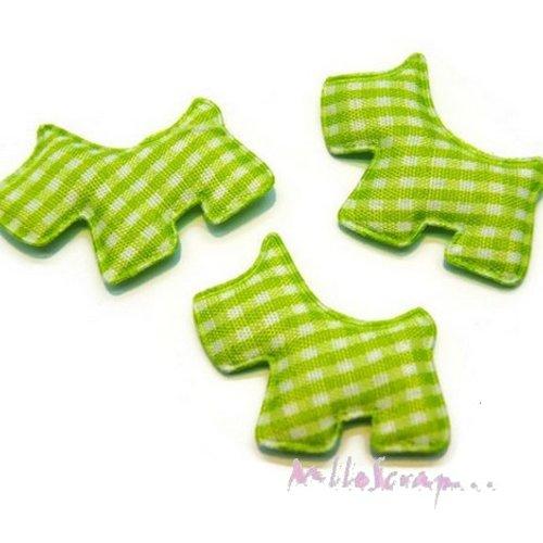 *lot de 5 chiens tissu velours vichy vert embellissement scrapbooking carte(réf.310).*