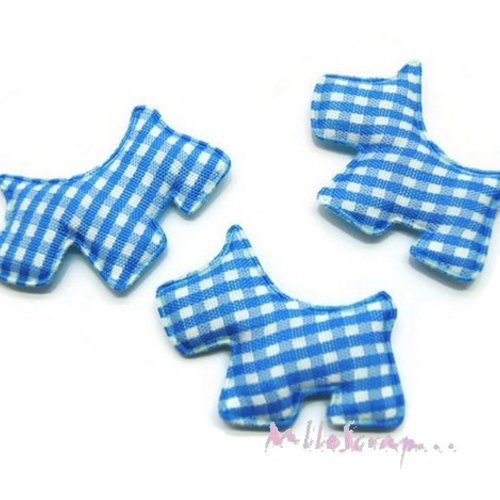 *lot de 5 chiens tissu velours vichy bleu embellissement scrapbooking carte (réf.310).*