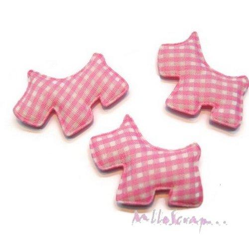 *lot de 5 chiens tissu velours vichy rose clair embellissement scrapbooking carte(réf.310).*