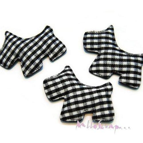 *lot de 5 chiens tissu velours vichy noir embellissement scrapbooking carte (réf.310).*