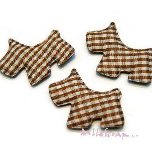 *lot de 5 chiens tissu velours vichy marron embellissement scrapbooking carte (réf.310).*