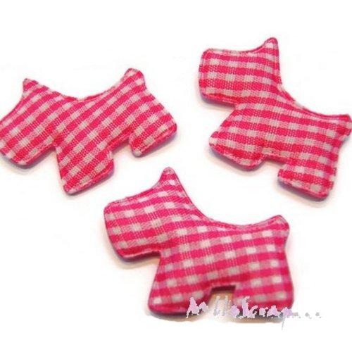 *lot de 5 chiens tissu velours vichy rose foncé embellissement scrapbooking carte (réf.310).*