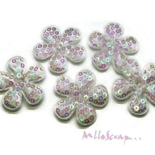 *lot de 5 fleurs tissu sequins blanc embellissement scrap, carte, couture (réf.310).*