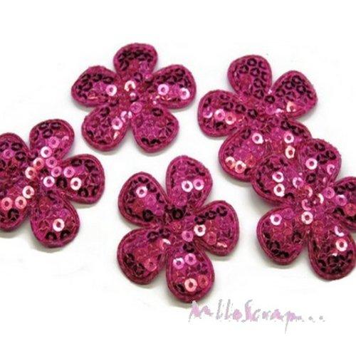 *lot de 5 fleurs tissu sequins rose foncé embellissement scrap, carte, couture(réf.310).*
