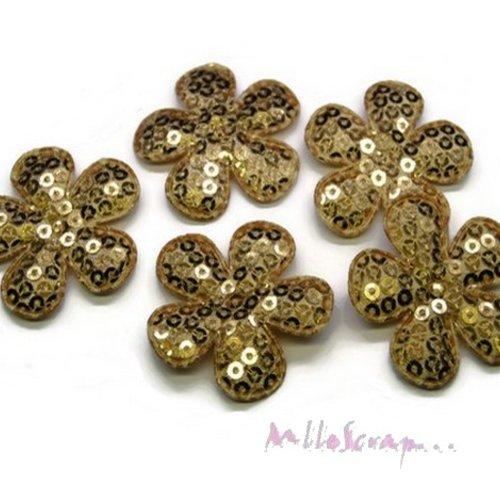 *lot de 5 fleurs tissu sequins doré embellissement scrap, carte, couture (réf.310).*