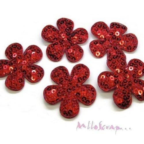 *lot de 5 fleurs tissu sequins rouge embellissement scrap, carte, couture(réf.310).*