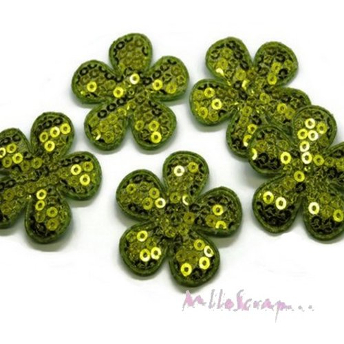 *lot de 5 fleurs tissu sequins vert embellissement scrap, carte, couture(réf.310).*