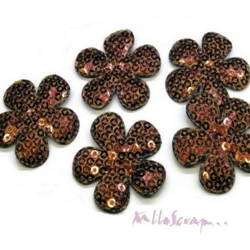 *lot de 5 fleurs tissu sequins marron embellissement scrap, carte, couture(réf.310).*