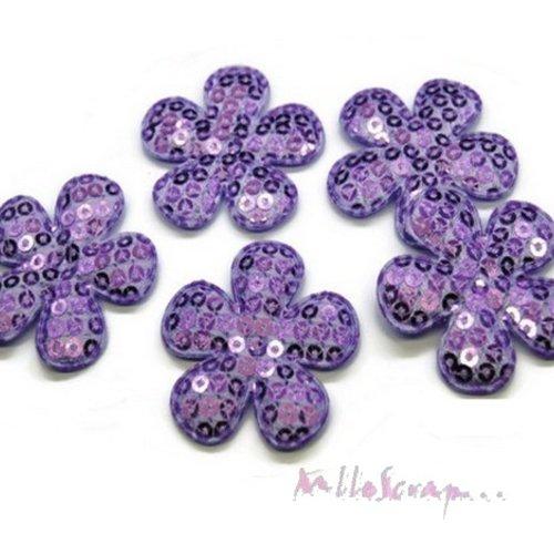 *lot de 5 fleurs tissu sequins violet embellissement scrap, carte, couture(réf.310).*