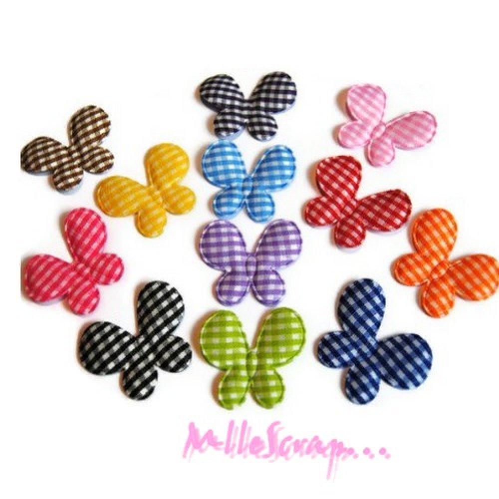*Lot de 26 mini papillons multicolore tissu vichy scrapbooking (réf.310).*