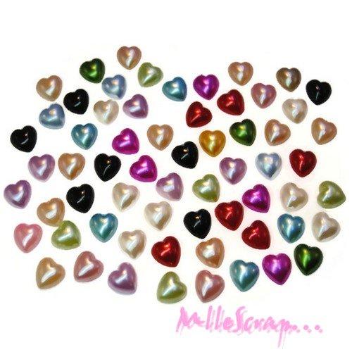 *lot de 50 demi-perles coeurs nacrées à coller 10 mm embellissement scrapbooking*