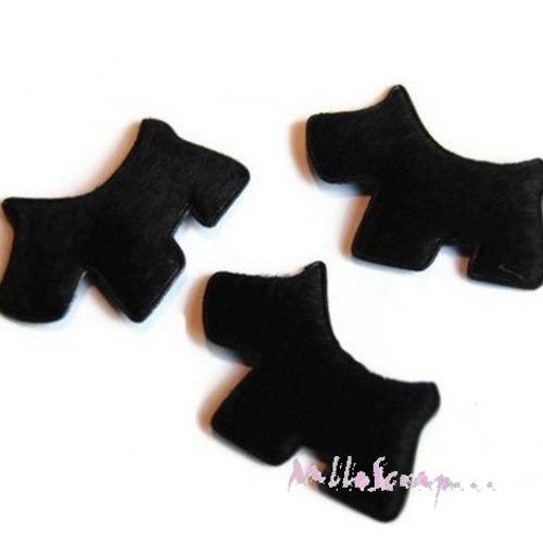 *lot de 5 chiens tissu velours noir embellissement scrapbooking carterie(réf.310).*