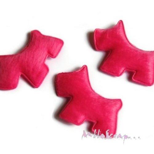 *lot de 5 chiens tissu velours rose foncé embellissement scrapbooking carte(réf.310).*