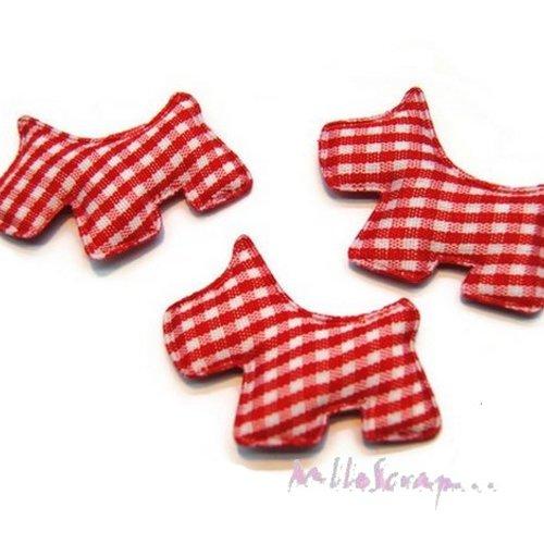 *lot de 5 chiens tissu velours vichy rouge embellissement scrapbooking carte(réf.310).*