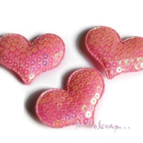 *lot de 5 coeurs rose clair tissu sequins embellissement scrapbooking(réf.310)*