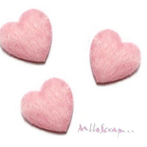 "*lot de 10 coeurs ""fourrure"" rose embellissement scrapbooking carte(réf.310)*"