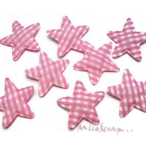 *lot de 10 petites étoiles tissu vichy rose clair embellissement scrapbooking(réf.310).*