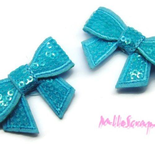 *lot de 2 noeuds tissu sequins bleu embellissement scrapbooking carte*.