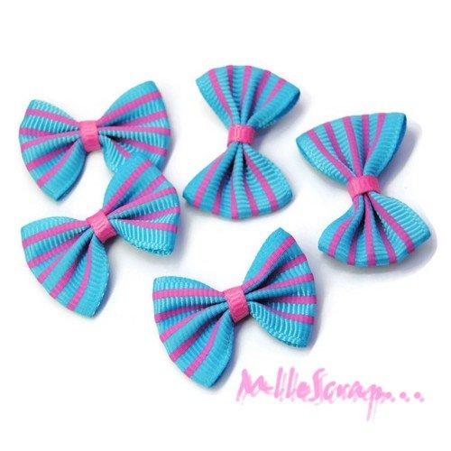 *lot de 5 noeuds rayés tissu bleu, rose embellissement scrapbooking*