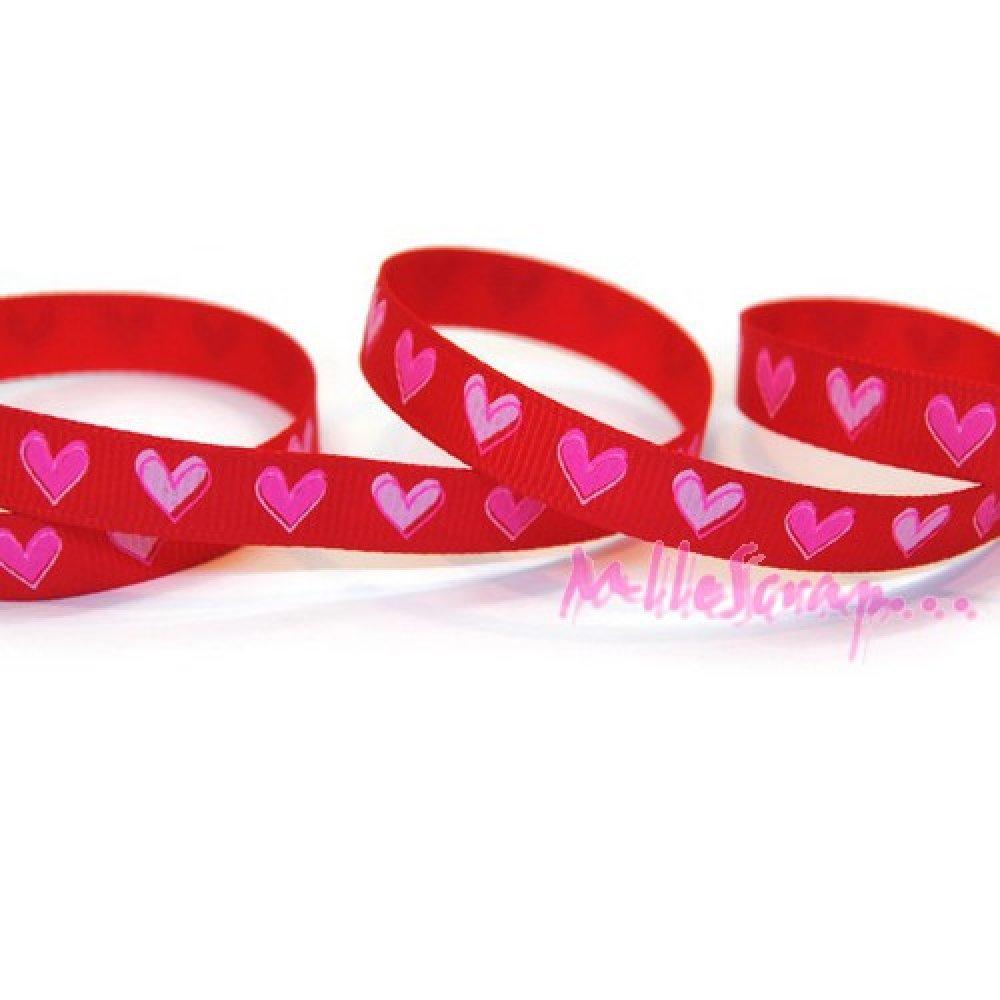 Ruban imprimé coeurs tissu rouge - 1 mètre