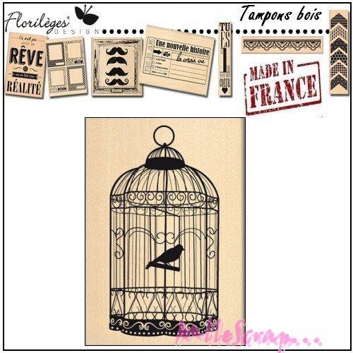 """*tampon bois """"grande cage"""" florilège design """"made in france"""" scrapbooking carterie .*"""
