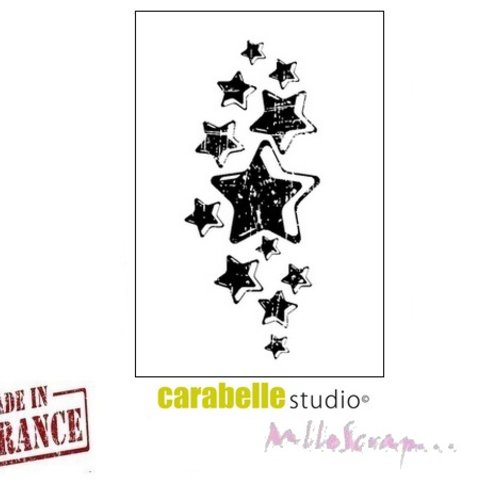 """*mini tampon """"pluie d'étoiles"""" carabelle studio fabriqué en france embellissement scrapbooking (réf.210)*"""