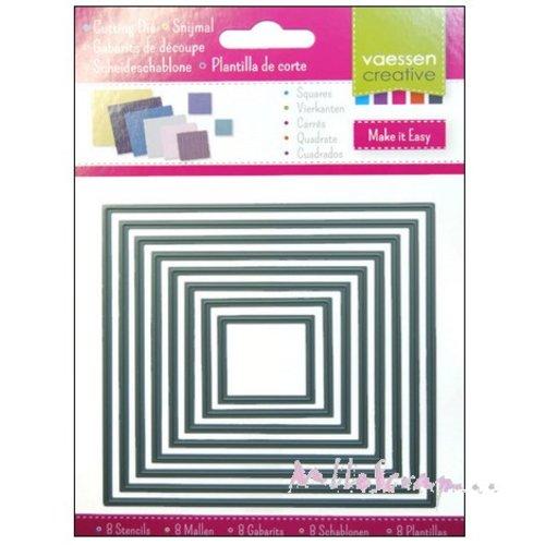 *lot de 8 die cut ou gabarits de découpe carrés scrapbooking carterie réf.3624-002 (réf.210).*