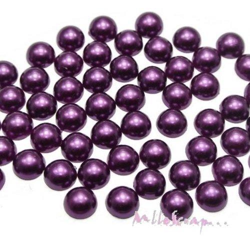 *lot de 20 demi-perles violet foncé à coller 8 mm embellissement scrapbooking*