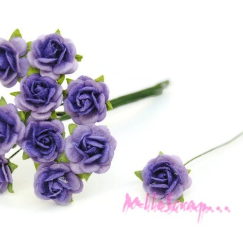*lot de 10 petites roses violet papier avec tige embellissement scrap carte 2(réf.810)*