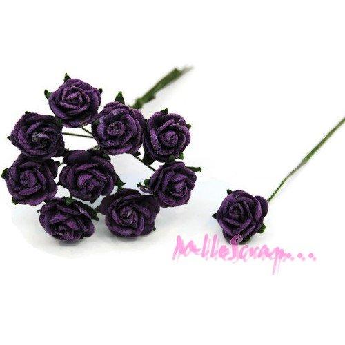 *lot de 10 petites roses violet papier avec tige embellissement scrap carte 3(réf.810)*