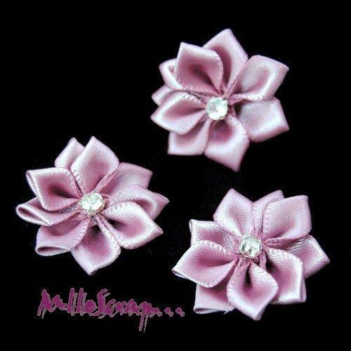 *lot de 5 fleurs tissu strass violet embellissement scrapbooking carte*
