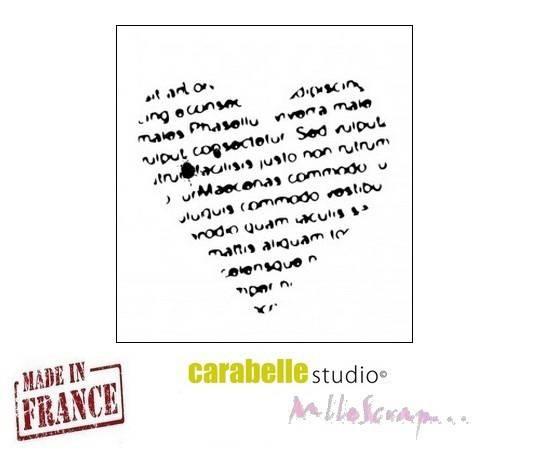 """*Mini tampon """"écrire sur un coeur"""" Carabelle Studio fabriqué en France embellissement scrapbooking (réf.210)*"""