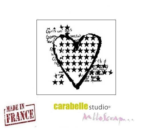 """*Mini tampon """"Mon coeur étoilé"""" Carabelle Studio fabriqué en France embellissement scrapbooking (réf.210)*"""