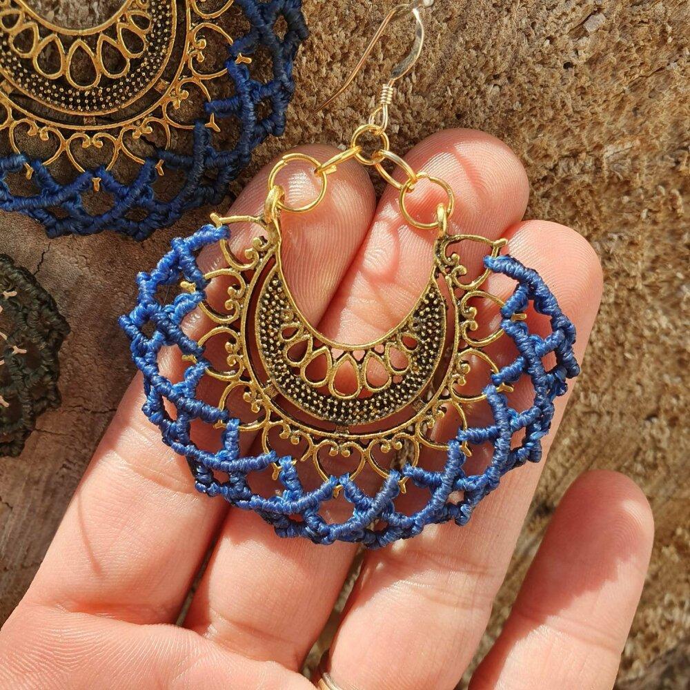 Boucles d'oreilles Micro-macramé, ethnique, orientale, Bohème, boho, gypsy, hippie, tribal, psytrance, festival